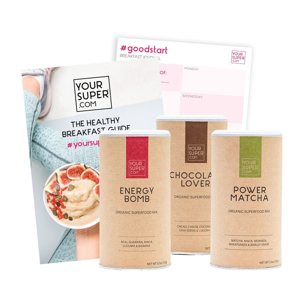 Jadon Group UK - your superfoods breakfast bundle with energy bomb, chocolate lover, power matcha, recipe ebook