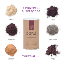 Load image into Gallery viewer, ingredients of your superfoods forever beautiful including, maca, acai, blueberry, chia seeds, acerola, maqui