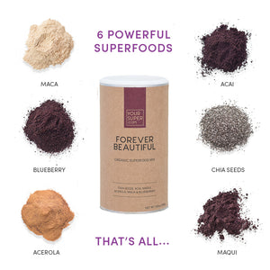 ingredients of your superfoods forever beautiful including, maca, acai, blueberry, chia seeds, acerola, maqui