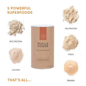 ingredients of your superfoods muscle power including, rice protein, pea protein, maca, lucuma and banana