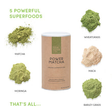 Load image into Gallery viewer, your superfoods power matcha ingredients including matcha, wheatgrass, maca, moringa and barley grass