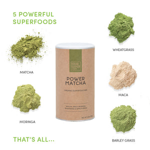 your superfoods power matcha ingredients including matcha, wheatgrass, maca, moringa and barley grass