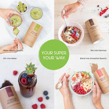 Load image into Gallery viewer, four individual recipe ideas for your superfoods power matcha, chocolate lover, energy bomb and forever beautiful