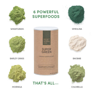 your superfoods super green organic and ethical ingredients, barley grass, baobab, spirulina, moringa, chlorella and wheatgrass