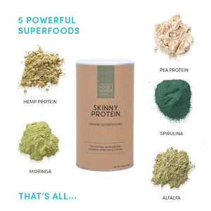 Your Superfoods skinny protein organic ingredients with moringa, spirulina, alfalfa, pea protein and hemp protein