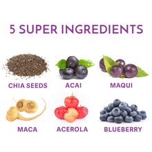 Load image into Gallery viewer, Your Superfoods forever beautiful ingredients including chia seeds, acai, maqui, maca, acerola and blueberry