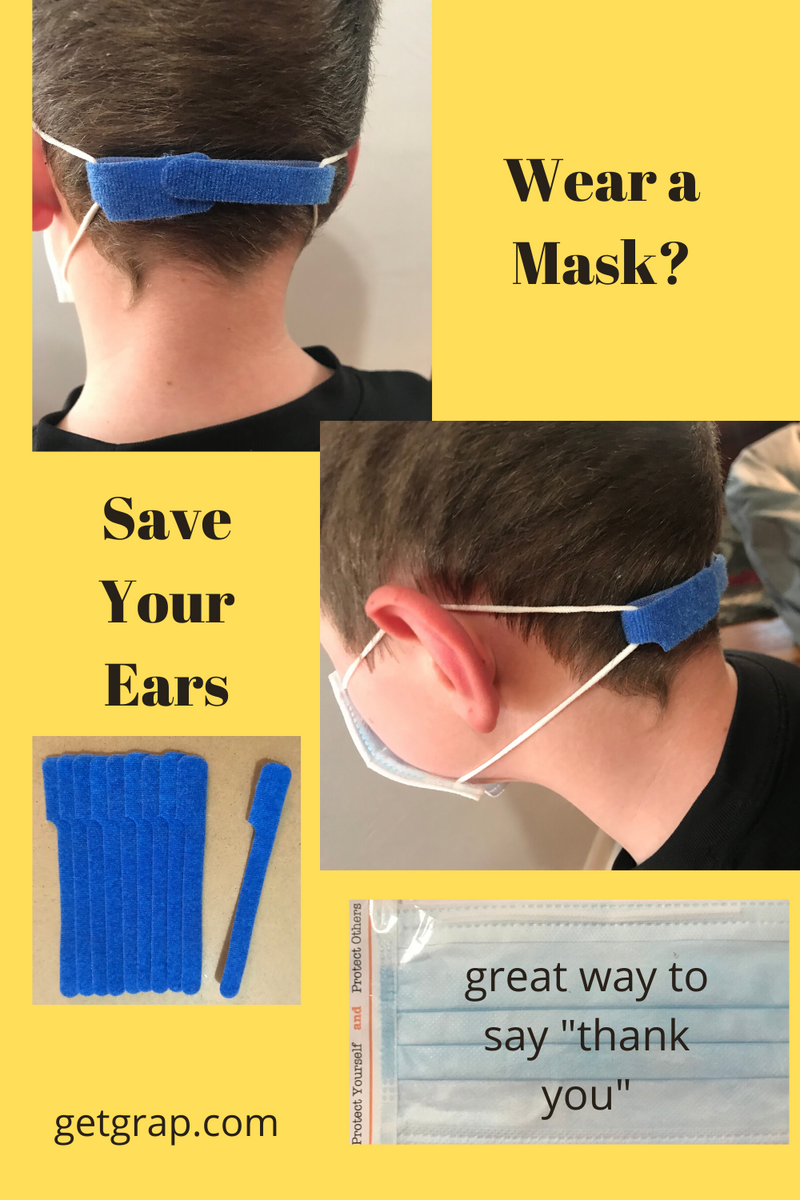grap double-sided hook and loop is used to hold the elastic loops on a face mask to protect the ears of the person wearing the mask