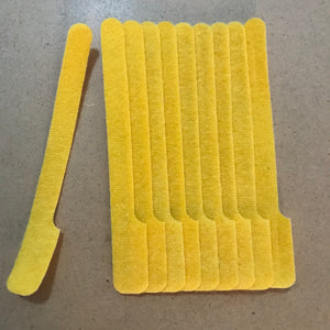 10 pieces of short yellow grap is pictured . grap is double-sided hook and loop used to craft, organize, and problem-solve in the home, garage, rv, boat, and craft room! choose color yellow, blue, orange, green, red and black