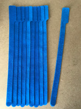 Load image into Gallery viewer, 10 pieces of XX-Long blue  grap is pictured. grap is double-sided hook and loop used to craft, organize, and problem-solve in the home, garage, rv, boat, and craft room! choose color yellow, blue, orange, green, red and black