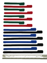 Load image into Gallery viewer, 16 pieces of grap is pictured in alternating layout of SHORT green grap , MED red grap , LONG blue grap,  X-LONG black grap is pictured with a ruler . Grap is double-sided hook and loop used to craft, organize and problem-solve in the home, garage, boat and RV.
