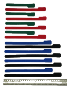 16 pieces of grap is pictured in alternating layout of SHORT green grap , MED red grap , LONG blue grap,  X-LONG black grap is pictured with a ruler . Grap is double-sided hook and loop used to craft, organize and problem-solve in the home, garage, boat and RV.