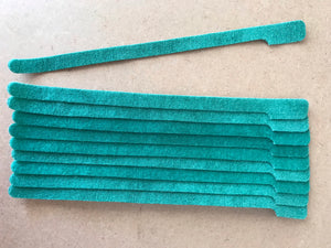 10 pieces of Long green grap is pictured. grap is double-sided hook and loop used to craft, organize, and problem-solve in the home, garage, rv, boat, and craft room! choose color yellow, blue, orange, green, red and black