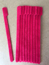 Load image into Gallery viewer, 10 pieces of LONG  red grap is pictured. grap is double-sided hook and loop used to craft, organize, and problem-solve in the home, garage, rv, boat, and craft room! choose color yellow, blue, orange, green, red and black