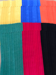 "6 stacks of 10 pieces of 10"" grap is pictured in yellow, blue, orange, green, red and black. grap is double-sided hook and loop used to craft, organize, and problem-solve in the home, garage, rv, boat, and craft room!"