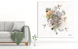 Floral Mandala Artwork on a Large Canvas, next to a Gray Sofa