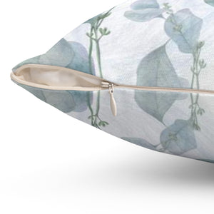 Gray Blue Leaf decorative Pillow - Liz Kapiloto Art & Design