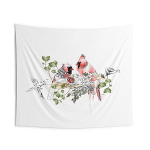 Red birds wall tapestry | Liz Kapiloto Art & Design