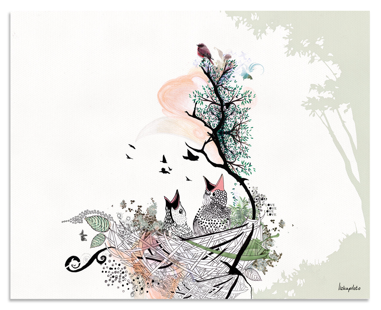 Birds Nest Painting - Liz Kapiloto Art & Design
