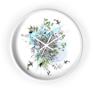 white wall clock with a print of a blue abstract art inside - Liz Kapiloto Art & Design