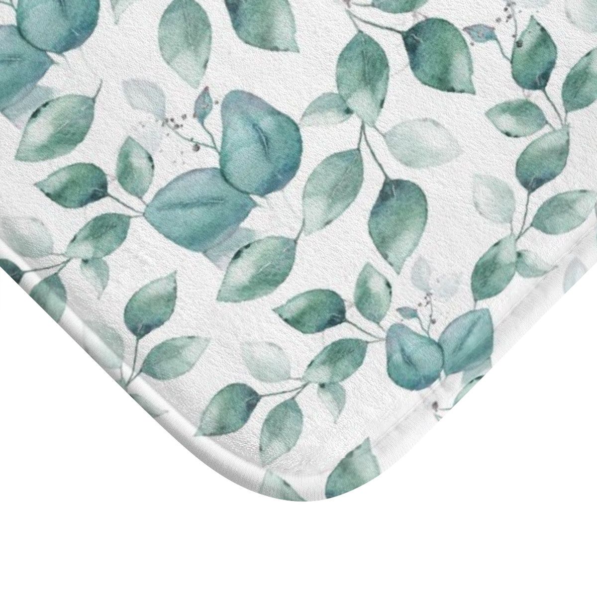 Light blue leaf pattern bath rug - Liz Kapiloto Art & Design