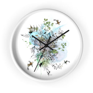 Boho wall clock with blue abstract mandala - Liz Kapiloto Art & Design