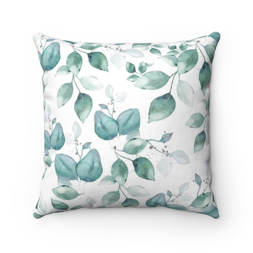 Blue Leaves Throw Pillow - Liz Kapiloto Art & Design