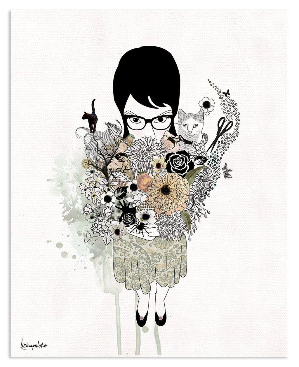 Gothic girl illustration of a girl holding a flower bouquet  - Liz Kapiloto Art & Design
