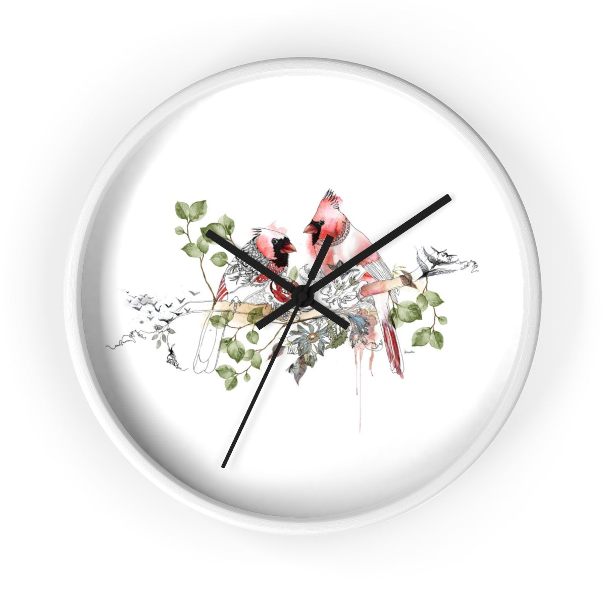 Red cardinal wall clock with a white frame - Liz Kapiloto Art & Design