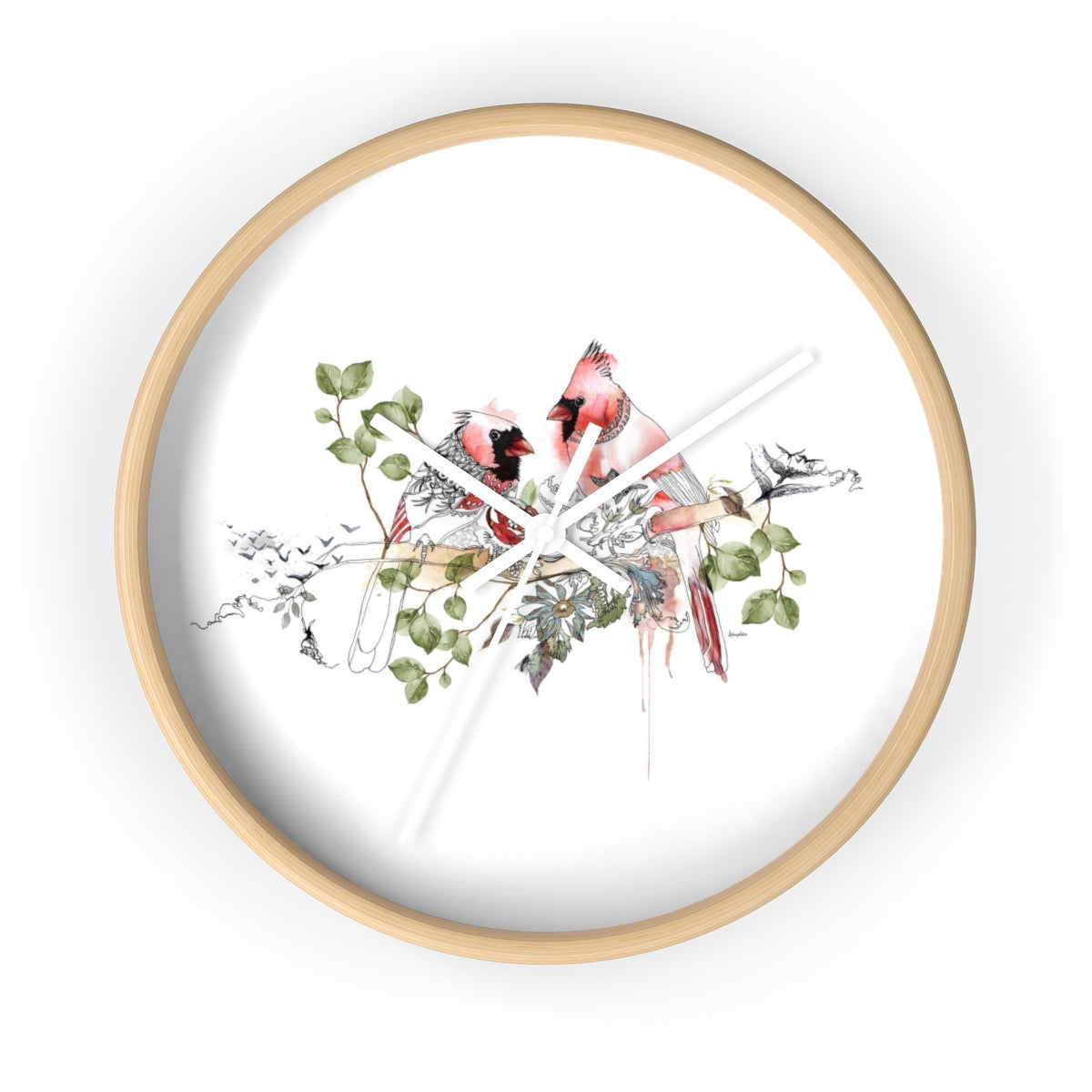Wood round clock with red birds design
