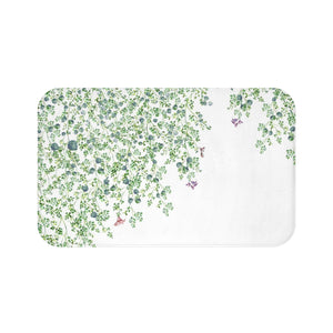 white and green Bath mat with leaves design - Liz Kapiloto Art & Design
