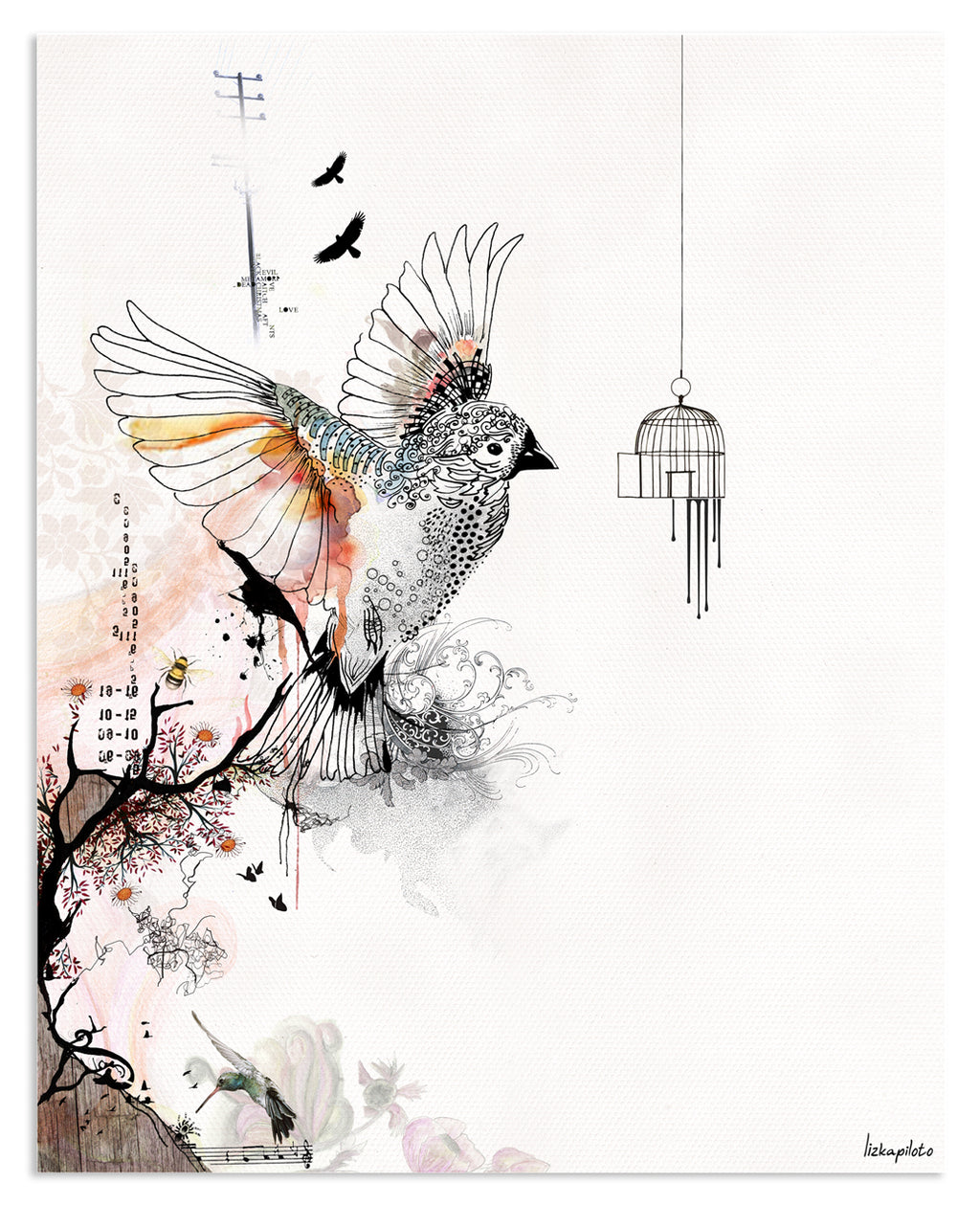 Flying Bird Painting - Liz Kapiloto Art & Design