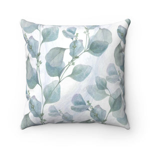 Gray Blue Leaf Throw Pillow - Liz Kapiloto Art & Design