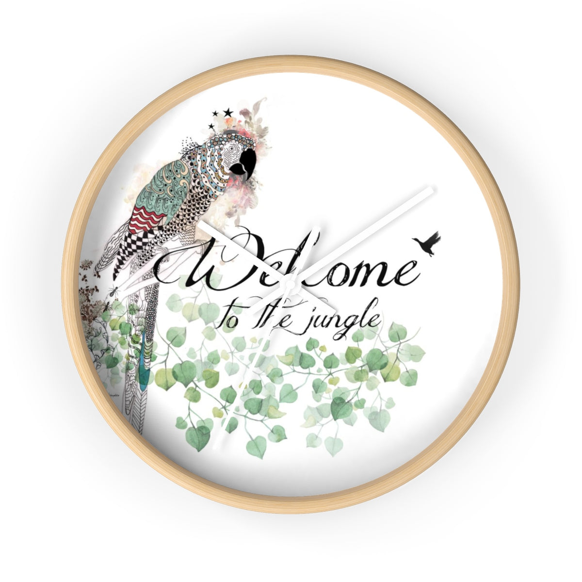 Parrot round, wood wall clock - Liz Kapiloto Art & Design