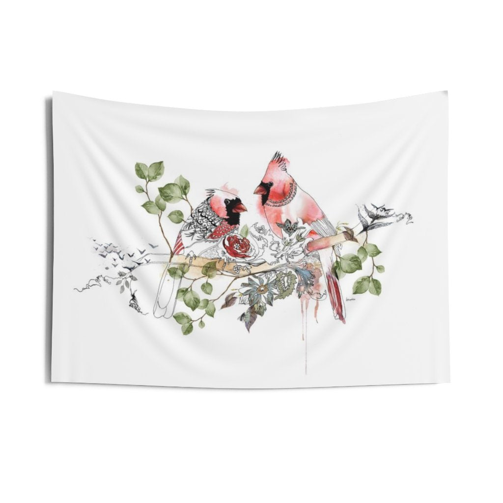 Red birds wall tapestry hanging