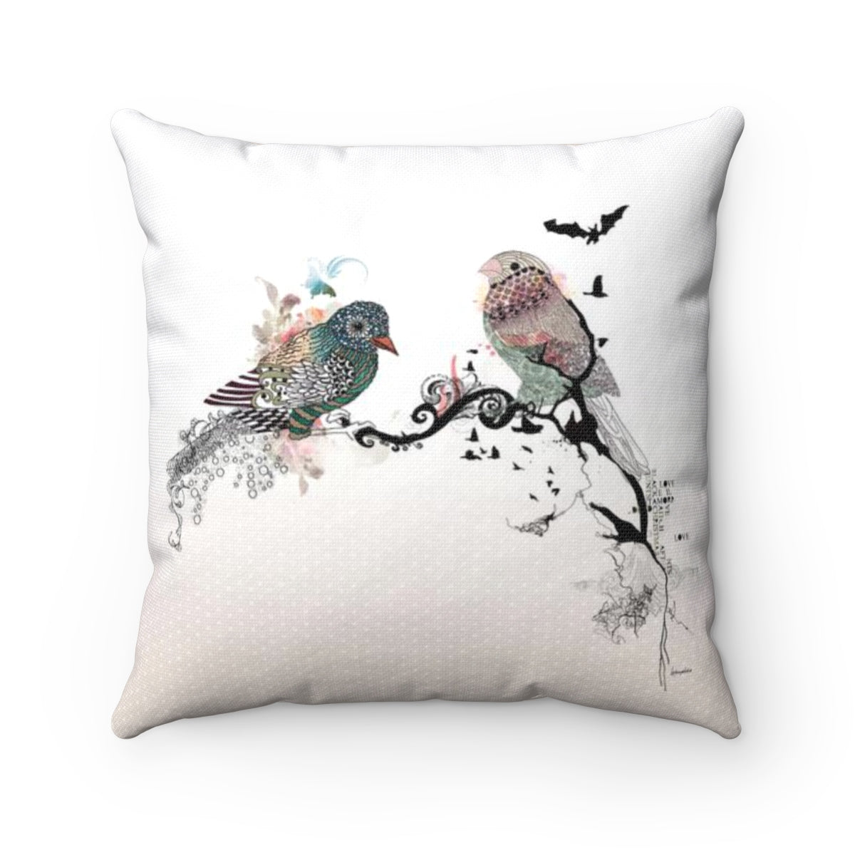 Birds Throw Pillow - Liz Kapiloto Art & Design