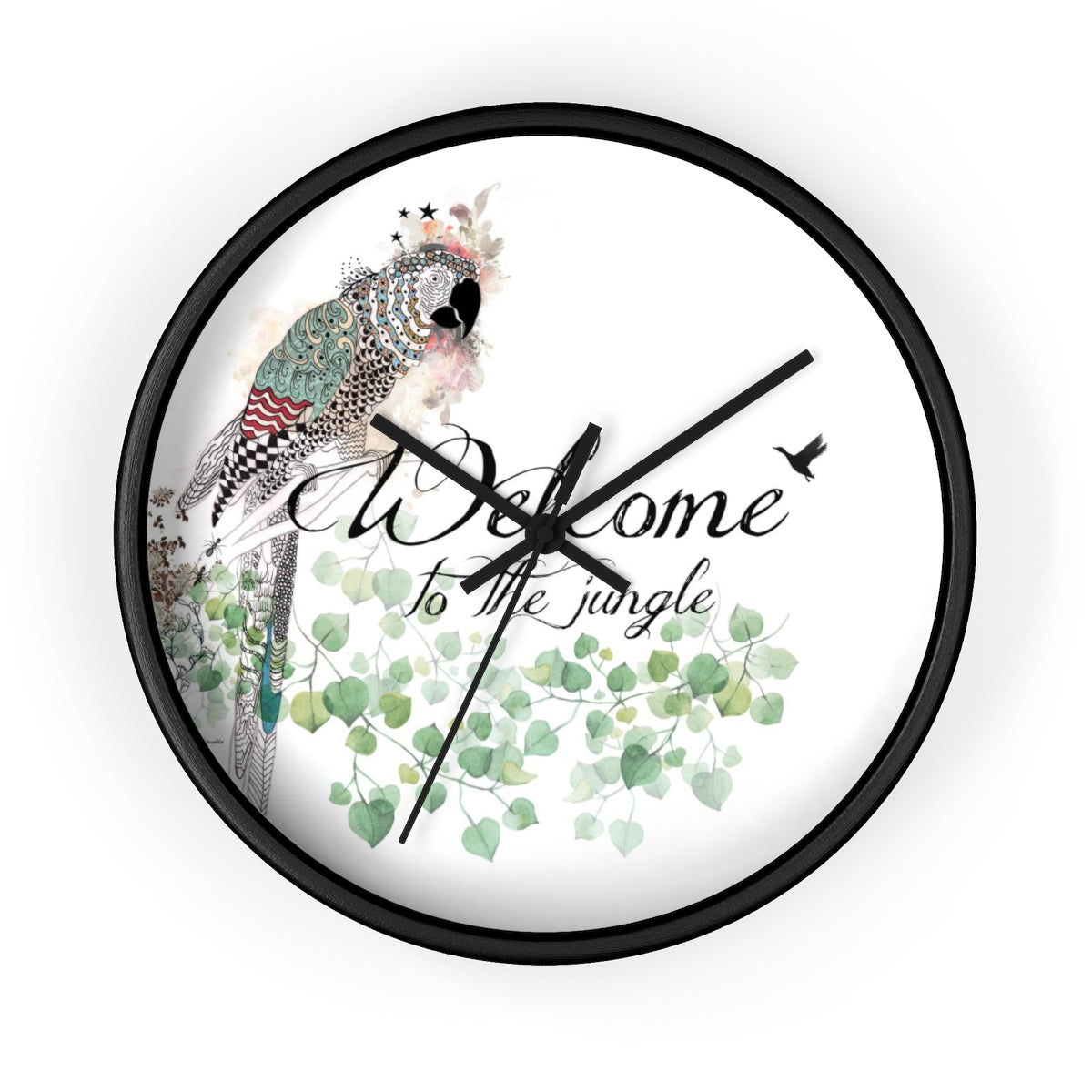 Parrot round clock with a black frame - Liz Kapiloto Art & Design