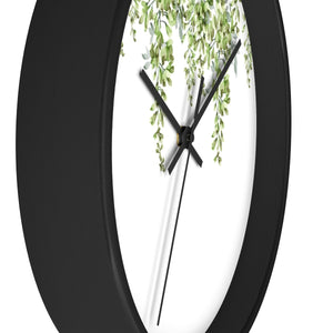 Side view of black round wall clock