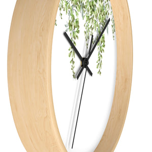 Side view of wood wall clock with green lead - Liz Kapiloto Art & Design