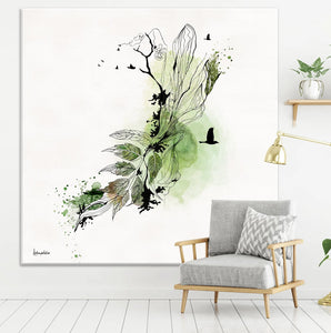 Watercolor abstract painting, green and black- Liz Kapiloto Art & Design