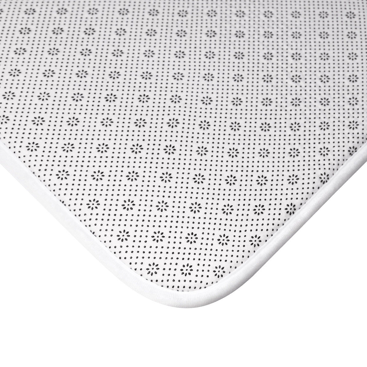 black and white, the back side of bath mat