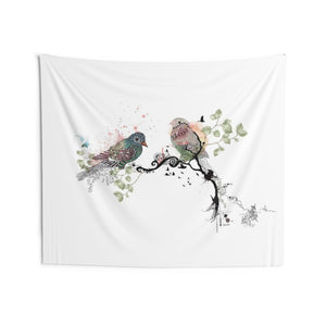Boho wall tapestry with birds on branch print