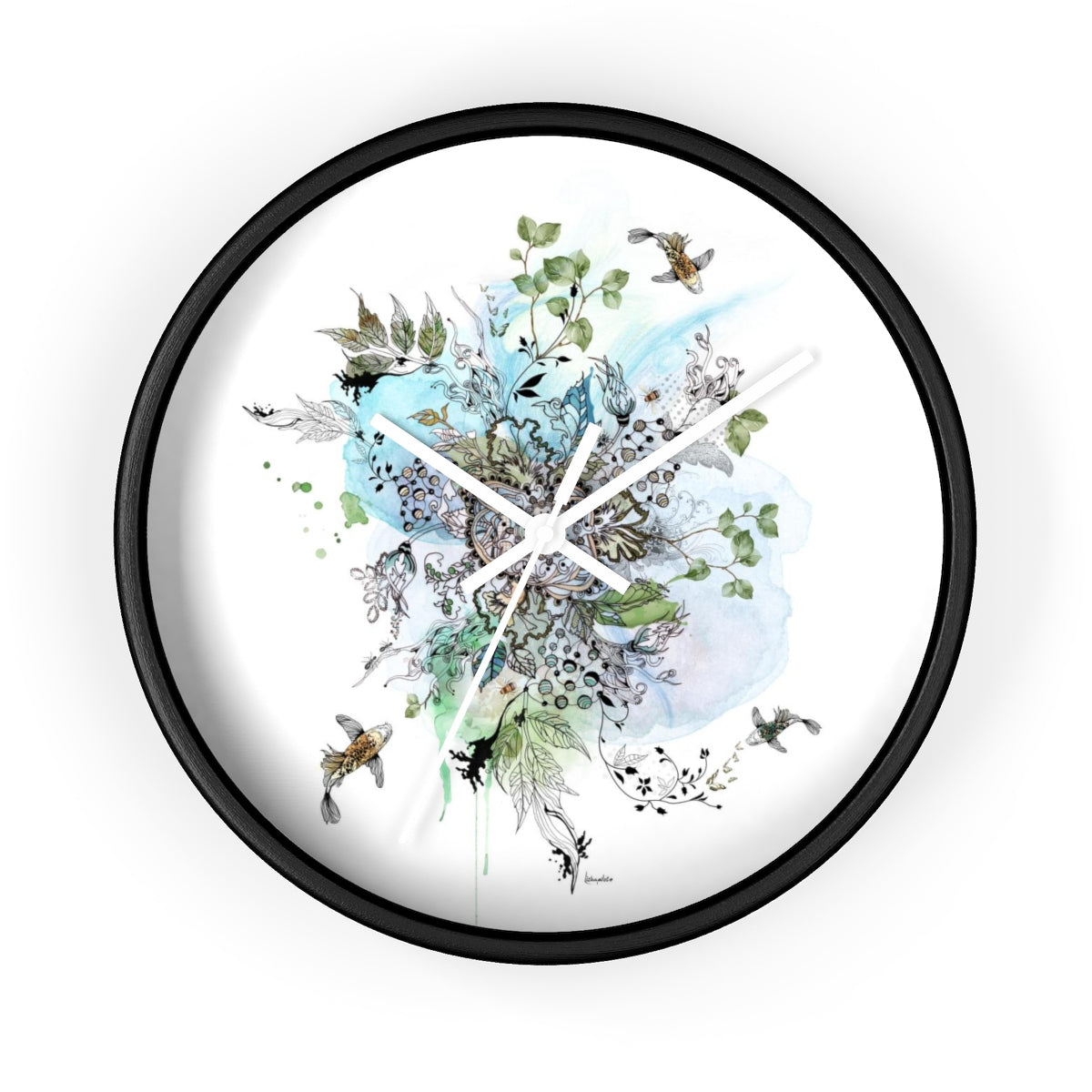 Blue mandala wall clock - Liz Kapiloto Art & Design