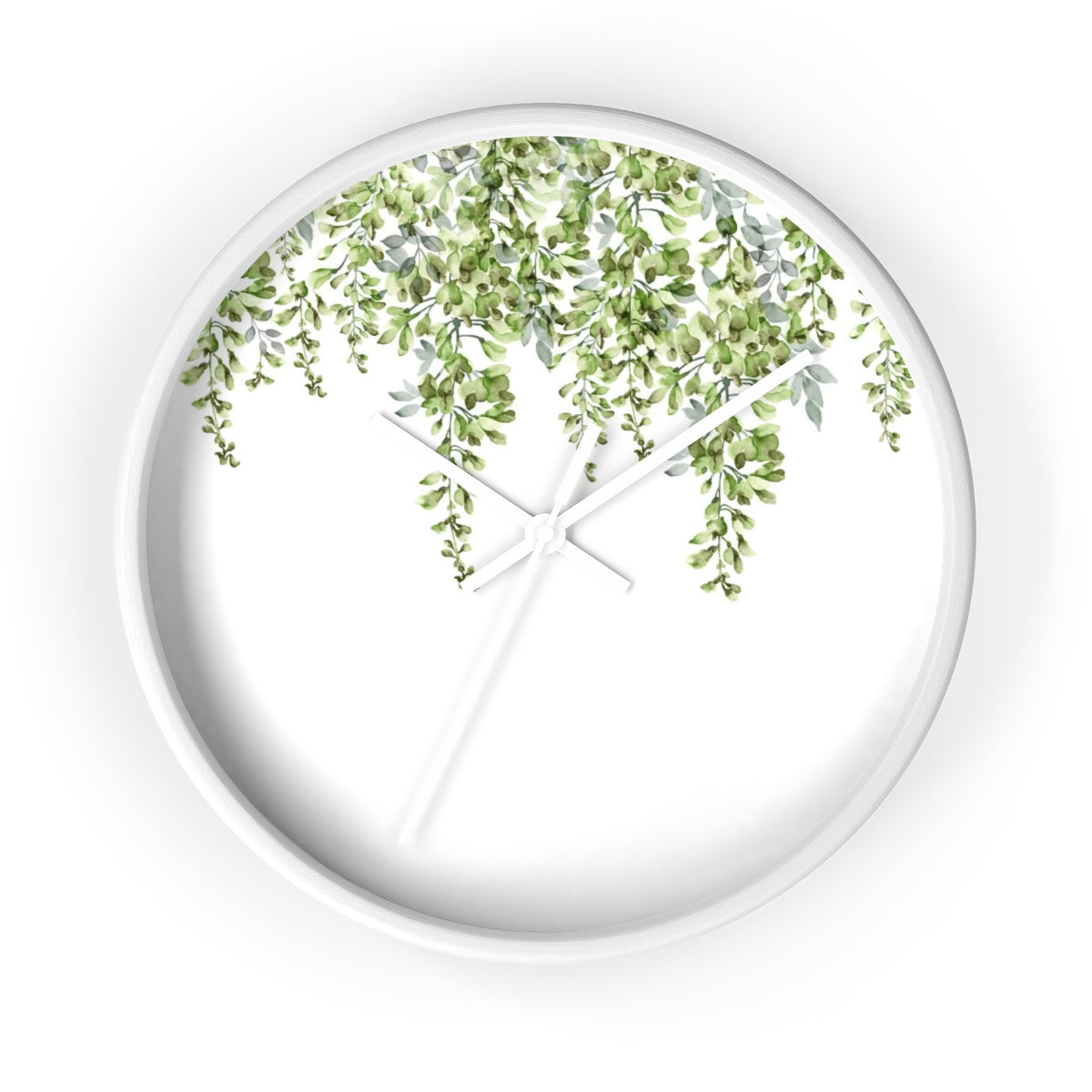 White round clock with green leaves - Liz Kapiloto Art & Design