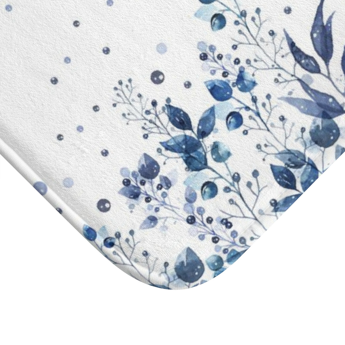 The corner of blue and white bath mat - Liz Kapiloto Art & Design