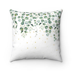 minimalist throw pillow with green leaves design