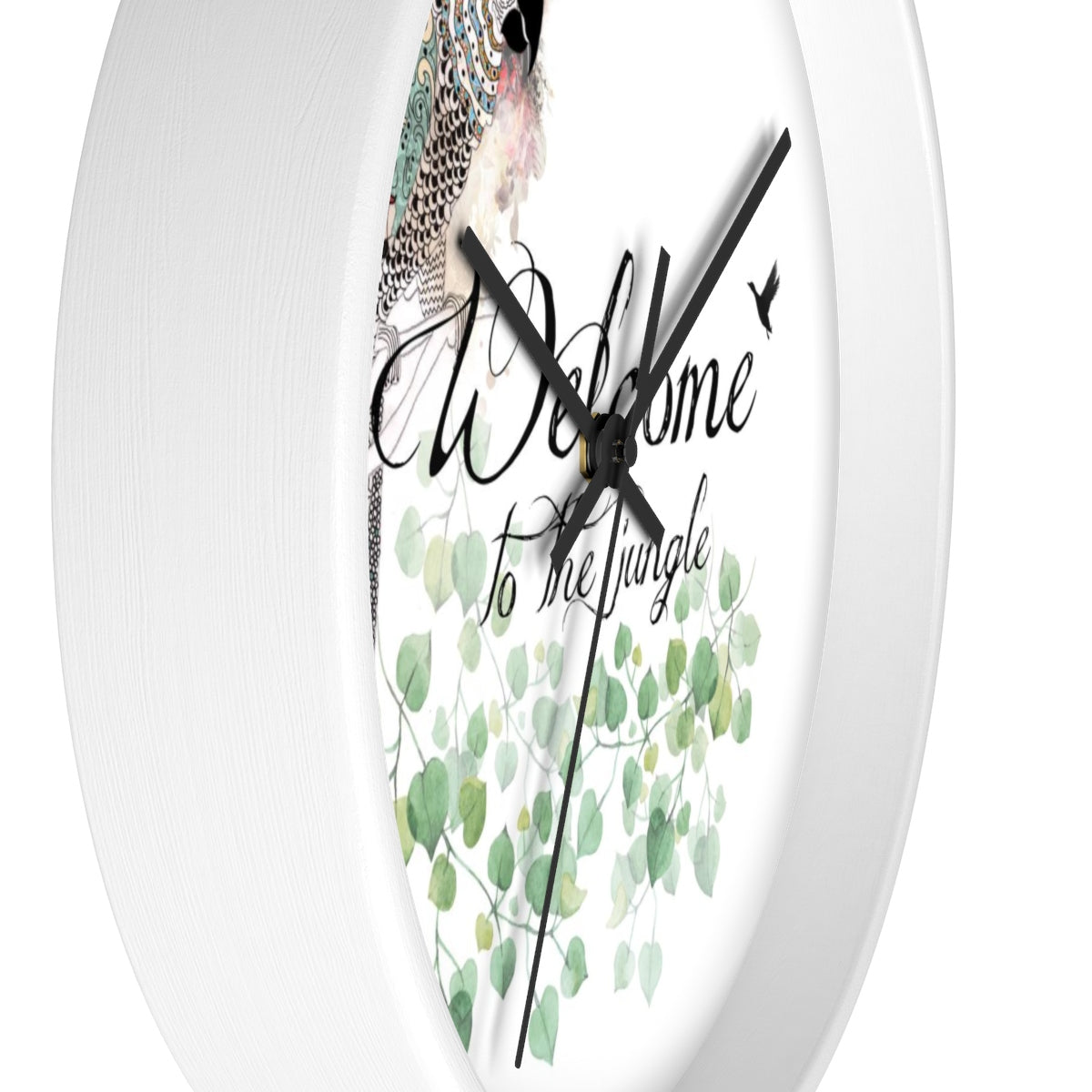 colorful parrot illustration clock with a white frame - Liz Kapiloto Art & Design