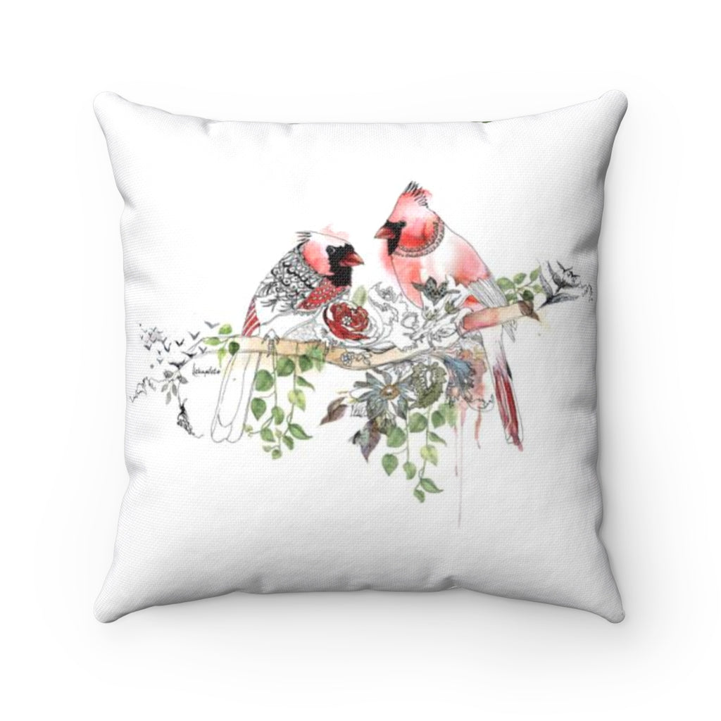 Cardinals Throw Pillow - Liz Kapiloto Art & Design