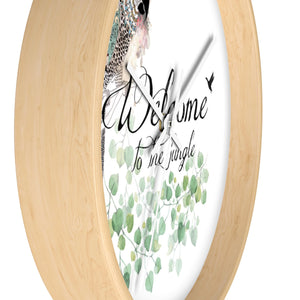Parrot Wall Clock with a wood frame- side view - Liz Kapiloto Art & Design