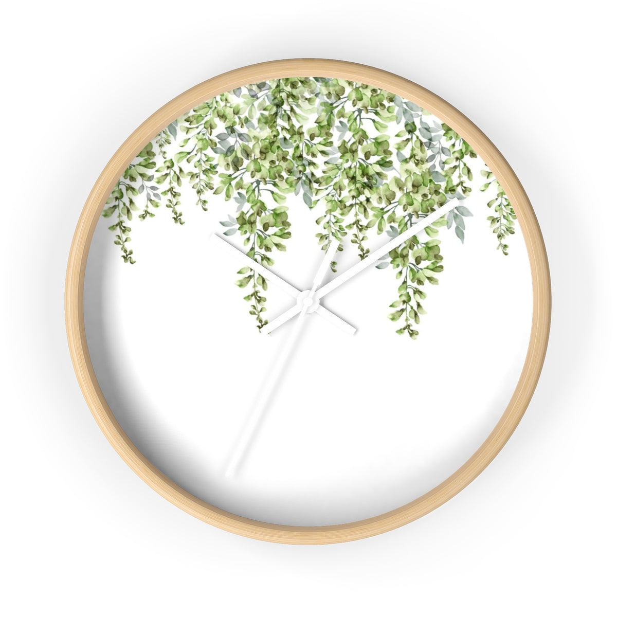 Wood round clock with green leaf - Liz Kapiloto Art & Design