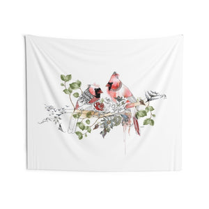 Red cardinal wall tapestry hanged